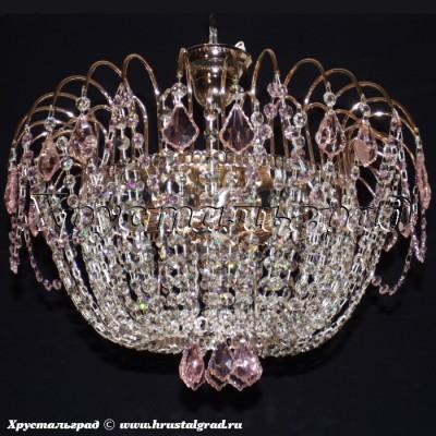 Хрустальная люстра Акация Дубик (28) розовый