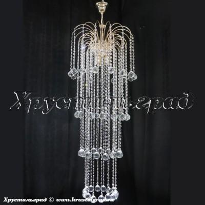 хрустальная люстра Каскад длинный Шар 40