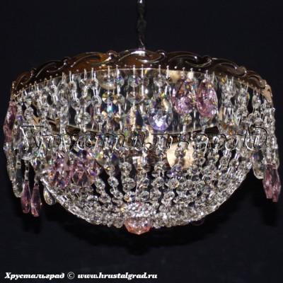 Хрустальная люстра Анжелика 3 лампы Журавлик розовый