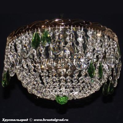 Хрустальная люстра Анжелика 3 лампы журавлик зеленый